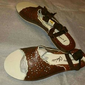 Brown flat lace up Irregular Sandals
